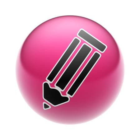ball pens stationery: Icono de lápiz en una bola roja. Foto de archivo