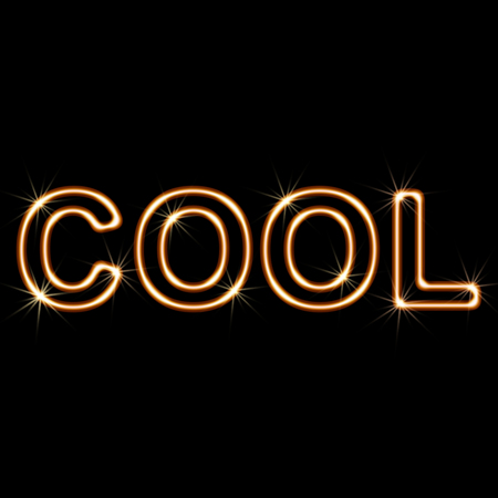 liked: COOL on A black Background. Illustration.