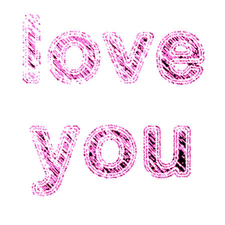 Love you wording in white background