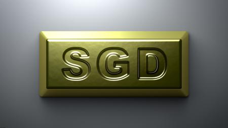 Singapore dollar sign on the gold bullion. Stock Photo