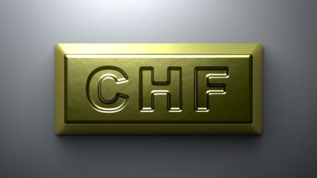 Swiss franc sign on the gold bullion. Stock Photo