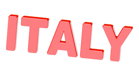 The word 'Italy' in red isolated on white