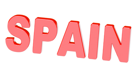 The word Spain in red isolated on white