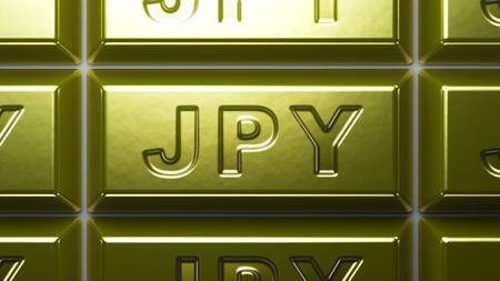 Japanese yen sign on the gold bullion.