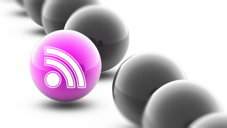 RSS icon on the ball. Stock Photo
