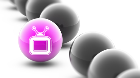 TV icon on the ball. Banque d'images