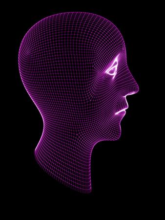 3D grid of a head. 3D Illustration. Banque d'images