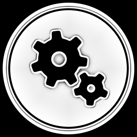 Gear icon in a circle. Illustration. Фото со стока