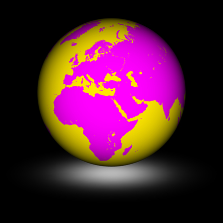 Earth in the black background. 3D Illustration.
