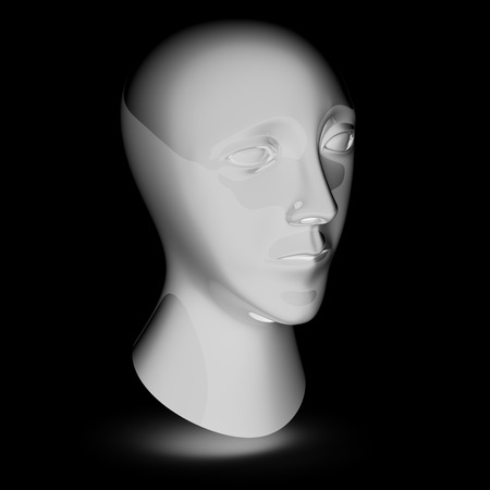Head in the black background. 3D Illustration.