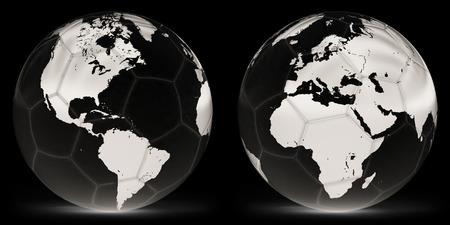 The soccerball in the black background. 3D Illustration. Imagens