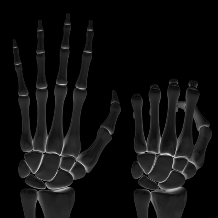 Hand in the black background. 3D Illustration. Stock Photo