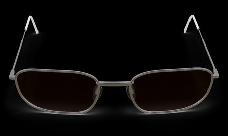 Glasses in the black background. 3D Illustration.