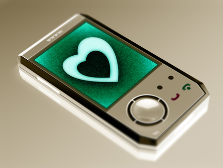 Heart icon in the smartphone. 3D Illustration.