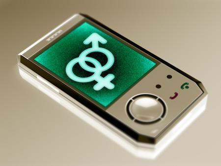 Sex icon in the smartphone. 3D Illustration.