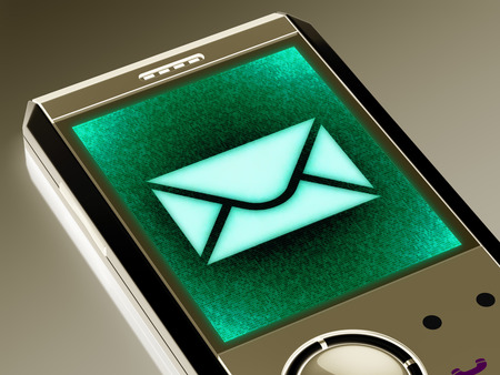 E-mail icon in the smartphone. 3D Illustration. Stock Photo