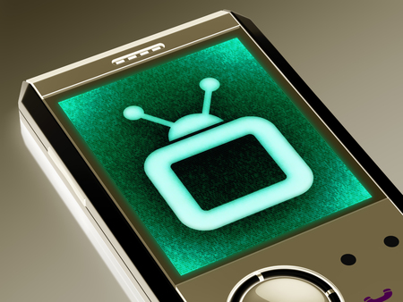 TV icon in the smartphone. 3D Illustration. Banque d'images - 113045689
