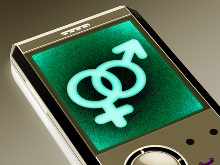 Sex icon in the smartphone. 3D Illustration. Stock Illustration - 113045760