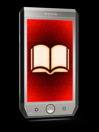Book icon in the screen. 3D Illustration.