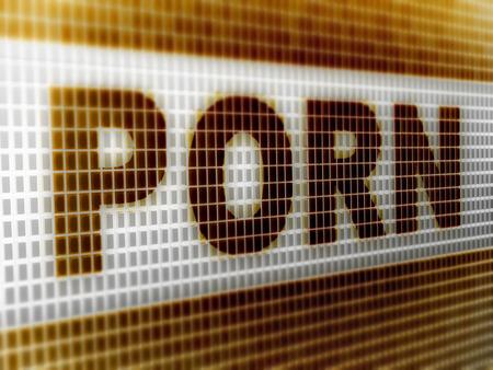 Porn in the screen. 3D Illustration. 版權商用圖片