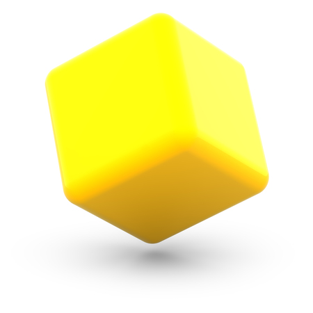 Cube on white surface. 3D Illustration.