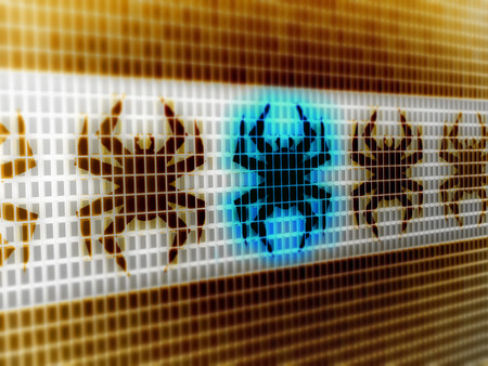 Virus icon in the screen. 3D Illustration.