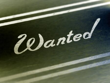 Wanted on a page of a book. Illustration.
