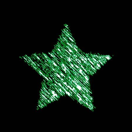 Star icon in the black background. Illustration.