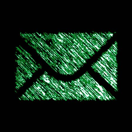 E-mail icon in the black background. Illustration.