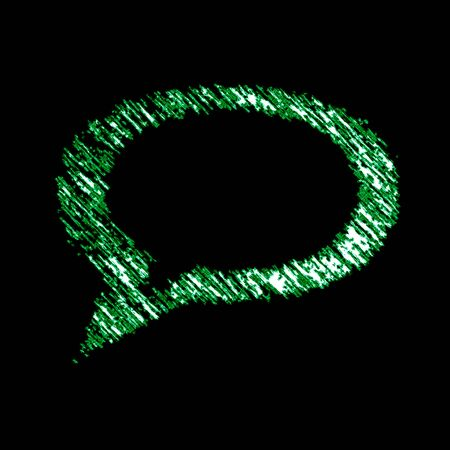 Chat icon in the black background. Illustration.