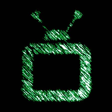 TV icon in the black background. Illustration.
