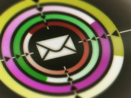 E-mail icon in a screen. Illustration.