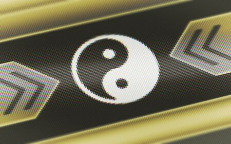 Ying-Yang icon in the screen. Illustration. Stockfoto