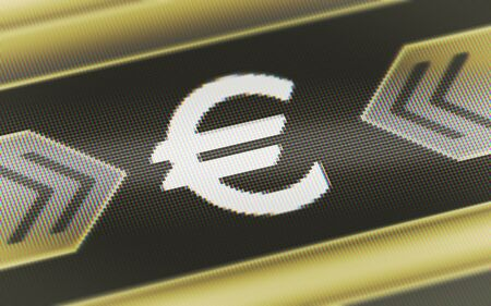 Euro icon in the screen. Illustration.