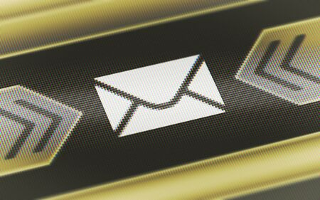 E-mail icon in the screen. 3D Illustration.
