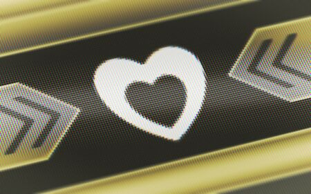 Heart icon in the screen. 3D Illustration.