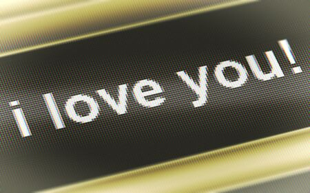 I love you! in the screen. 3D Illustration.