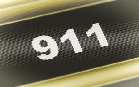 911 icon in the screen. 3D Illustration. Stok Fotoğraf