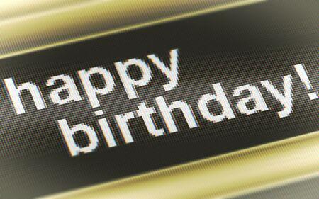 Happy birthday! in the screen. Illustration. Stock Photo