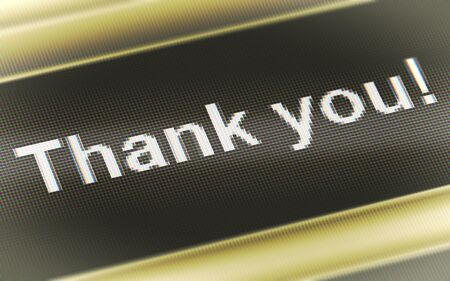 Thank you! in the screen. Illustration. Stock Photo