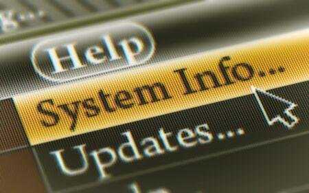 Botón de información del sistema en la pantalla. Ilustración.