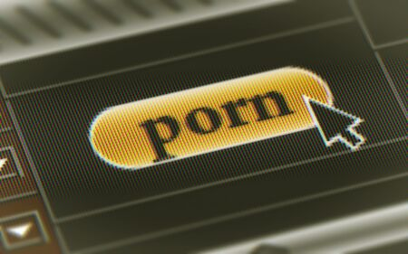 Porn button in the screen. Illustration.