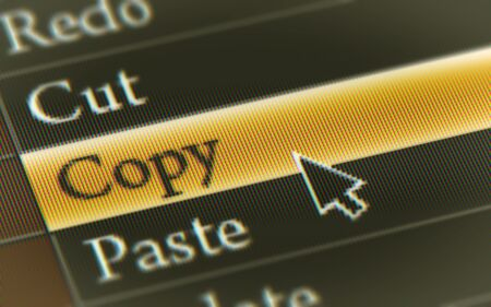 Copy button in the screen. Illustration. 스톡 콘텐츠 - 131815561
