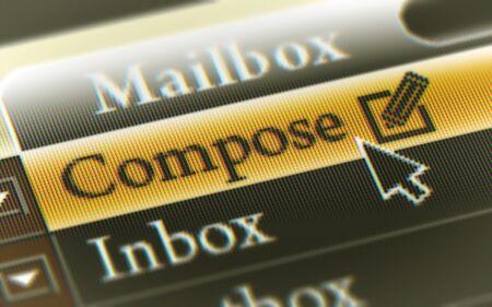Botón de redacción en la pantalla. Ilustración.