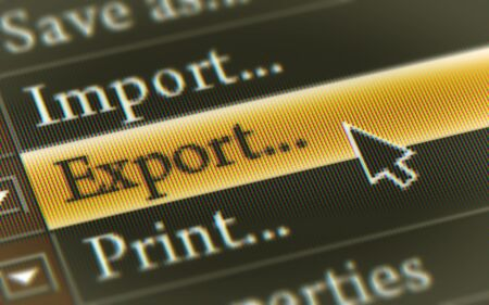 Export button in the screen. Illustration. 스톡 콘텐츠 - 131815637