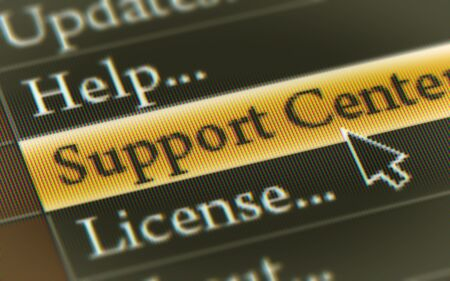 Support Center button in the screen. Illustration. 스톡 콘텐츠 - 131815647