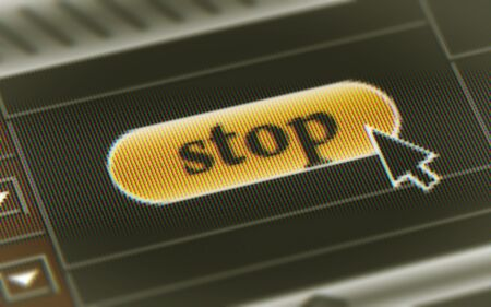Stop button in the screen. Illustration.