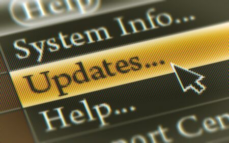Updates button in the screen. Illustration. Stockfoto