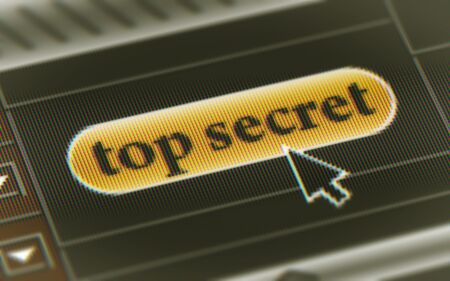 Top secret button in the screen. Illustration Imagens