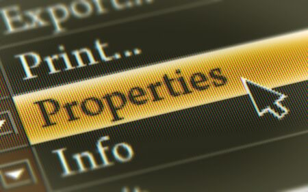 Properties button in the screen. Illustration